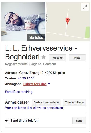 LL-erhvervsservice google søgeresultat