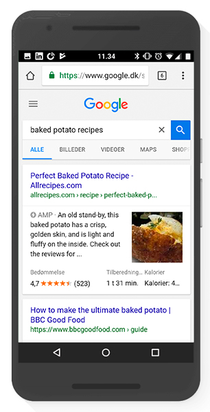 Rich snippets AMP search results - Struktureret data