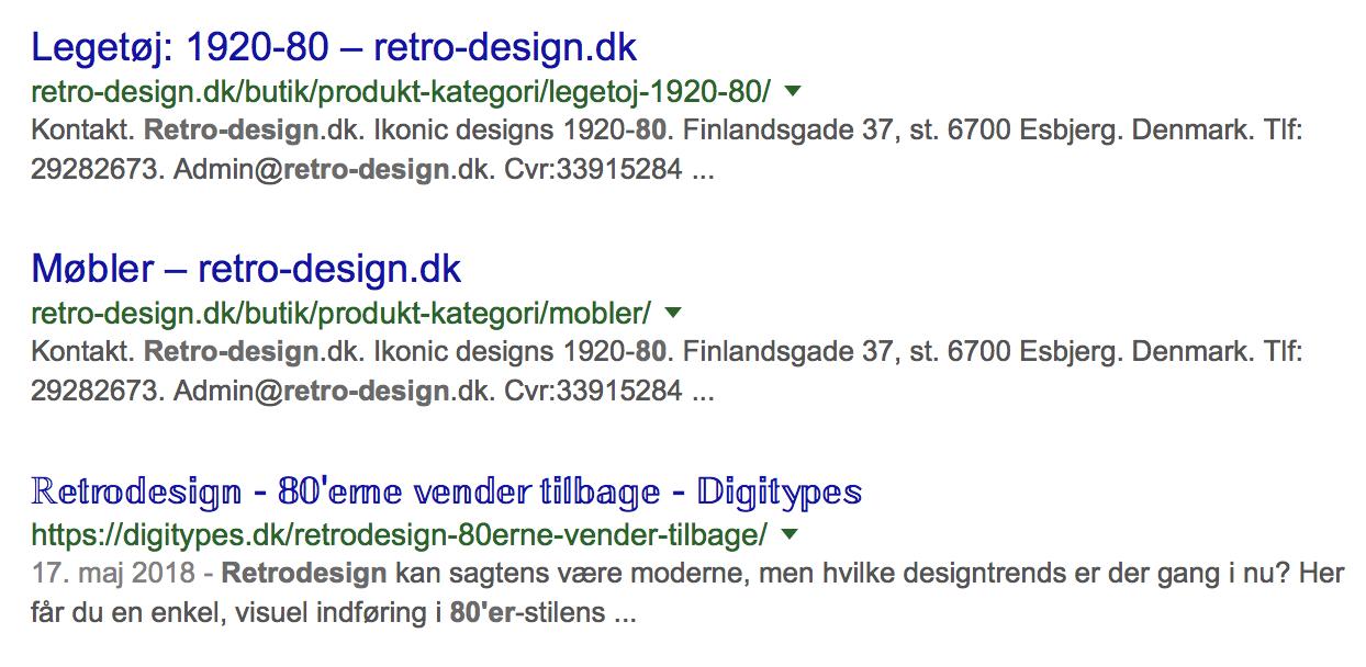 Uniocde tekst i søgeresultat Google