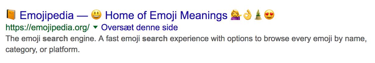 søgeresultat med ikoner i titlen