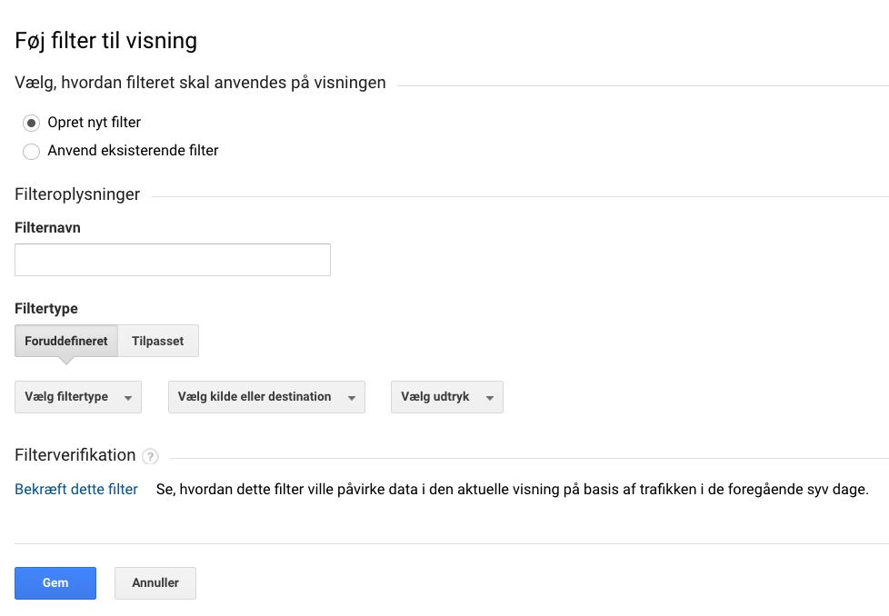 filtervisning i Google Analytics