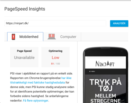 Google page speed demo analyse screendumb
