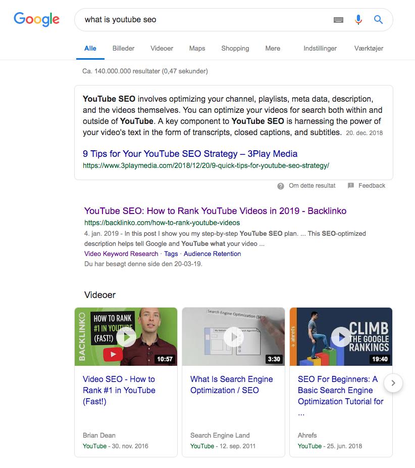Youtube videoer i Google søgeresultat