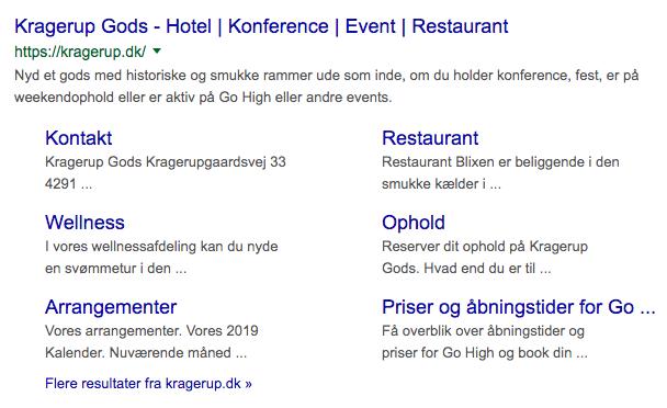 eksempel på sitelinks i Google søgeresultater