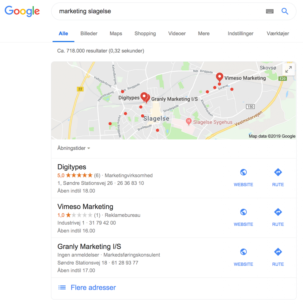 eksempel på lokal søgning i Google