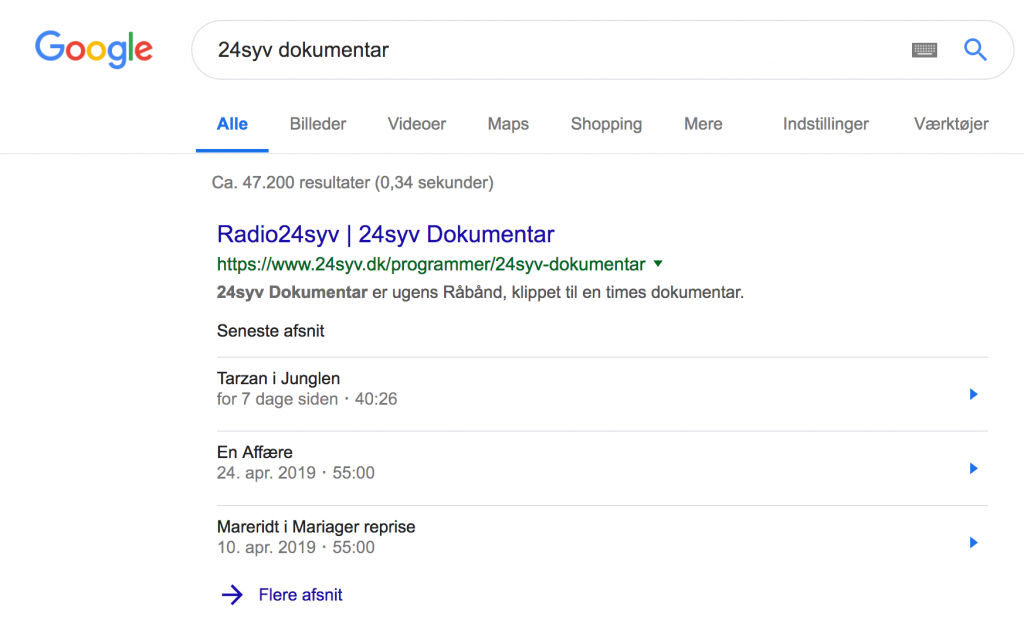 podcast i Googles søgeresultater