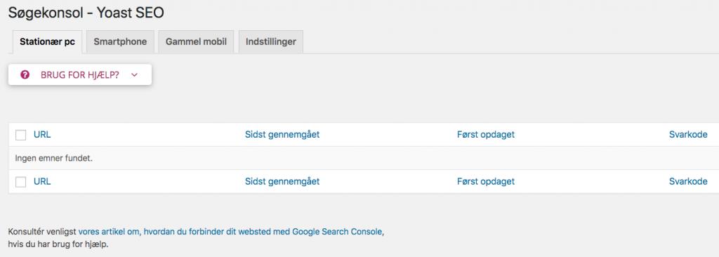 søgekonsol i Yoast seo