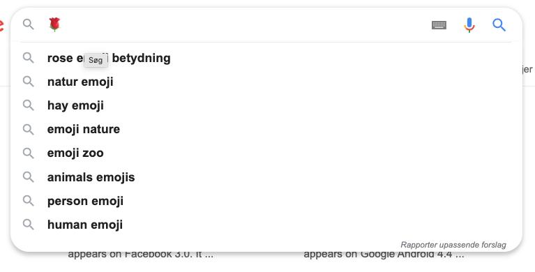 rose emoji google suggest