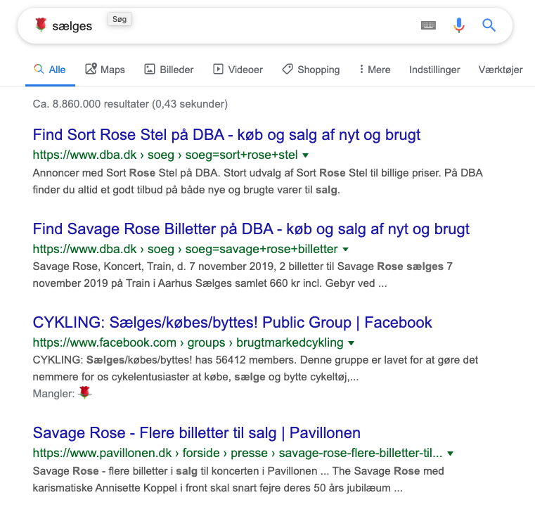 rose emoji søgeordsanalyse