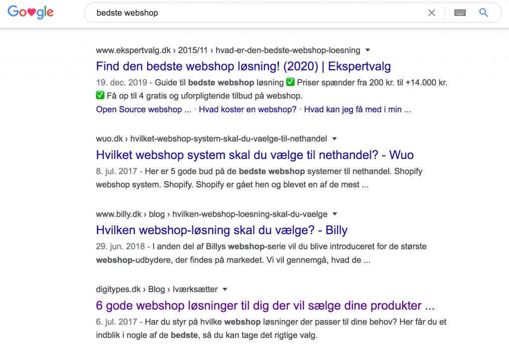 bedste webshop i søgeresultater