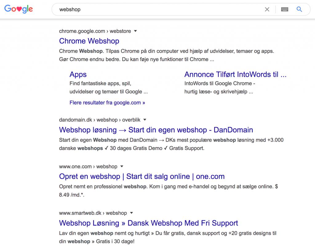 webshop i søgeresultatet