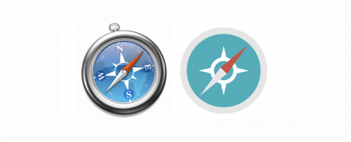 klassisk vs flat design logo