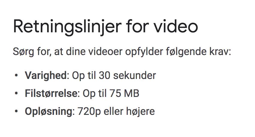 Google My Business maks størrelse på video
