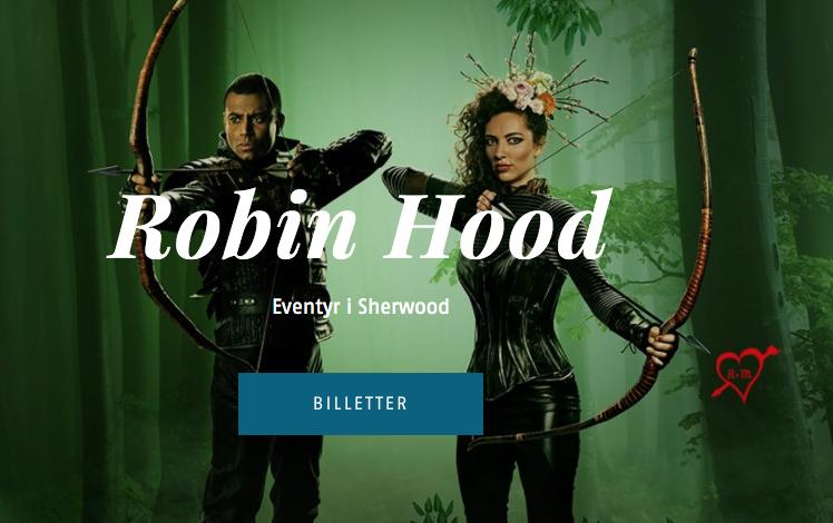 Robin Hood plakat Folketeatret kursiv skrift fra en serif-font