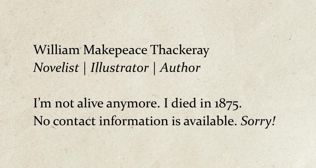 Thackeray eksemple på kursiv på visitkort