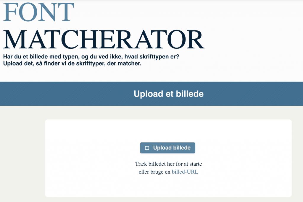 Find skrifttype på Font Matcherator